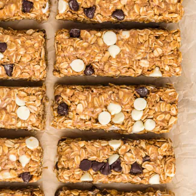 overhead image of cut homemade granola bars with chocolate chips