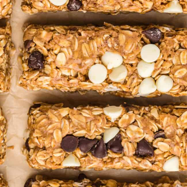 up close overhead image of cut homemade granola bars with chocolate chips