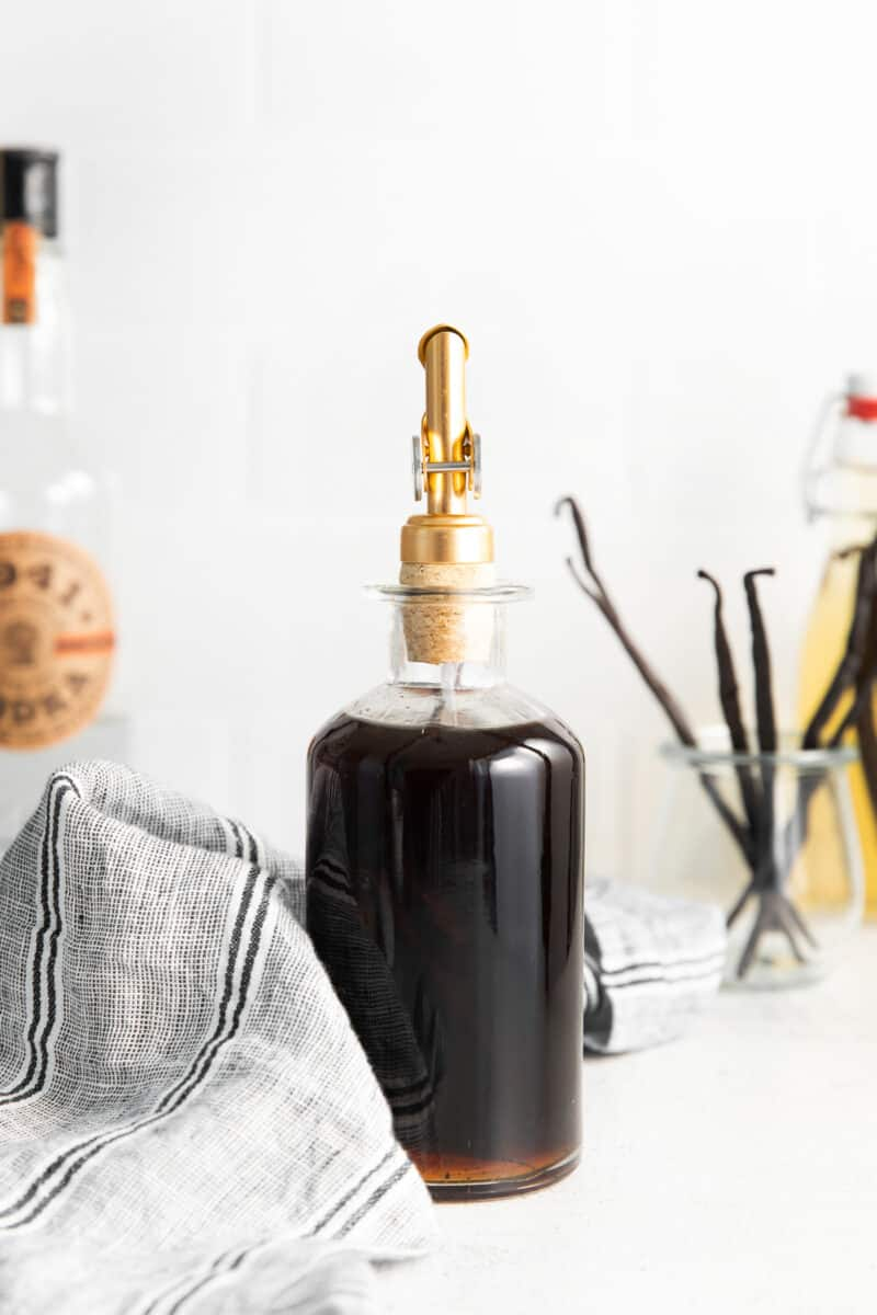 homemade vanilla extract in glass container