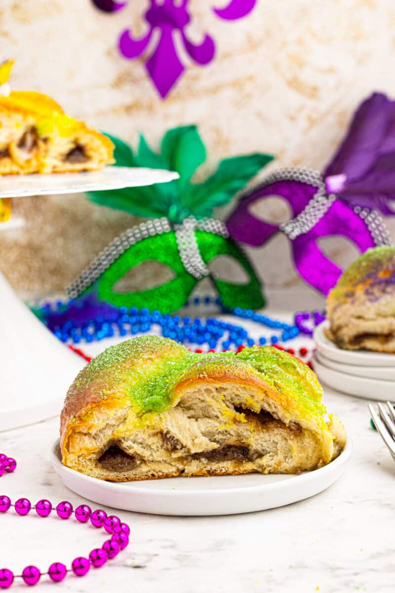 slice of king cake on plate
