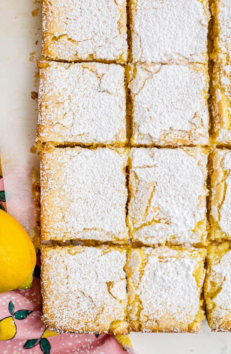 overhead image of sliced lemon bars