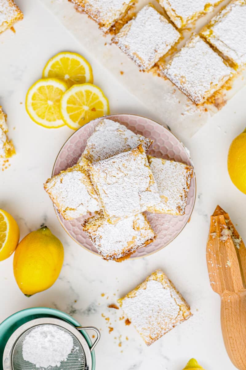 overhead image of lemon bars sliced and ready to serve