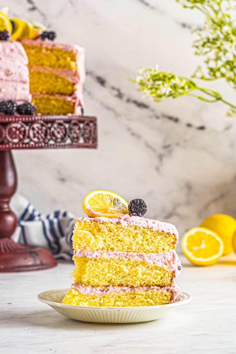 slice of lemon blackberry layer cake