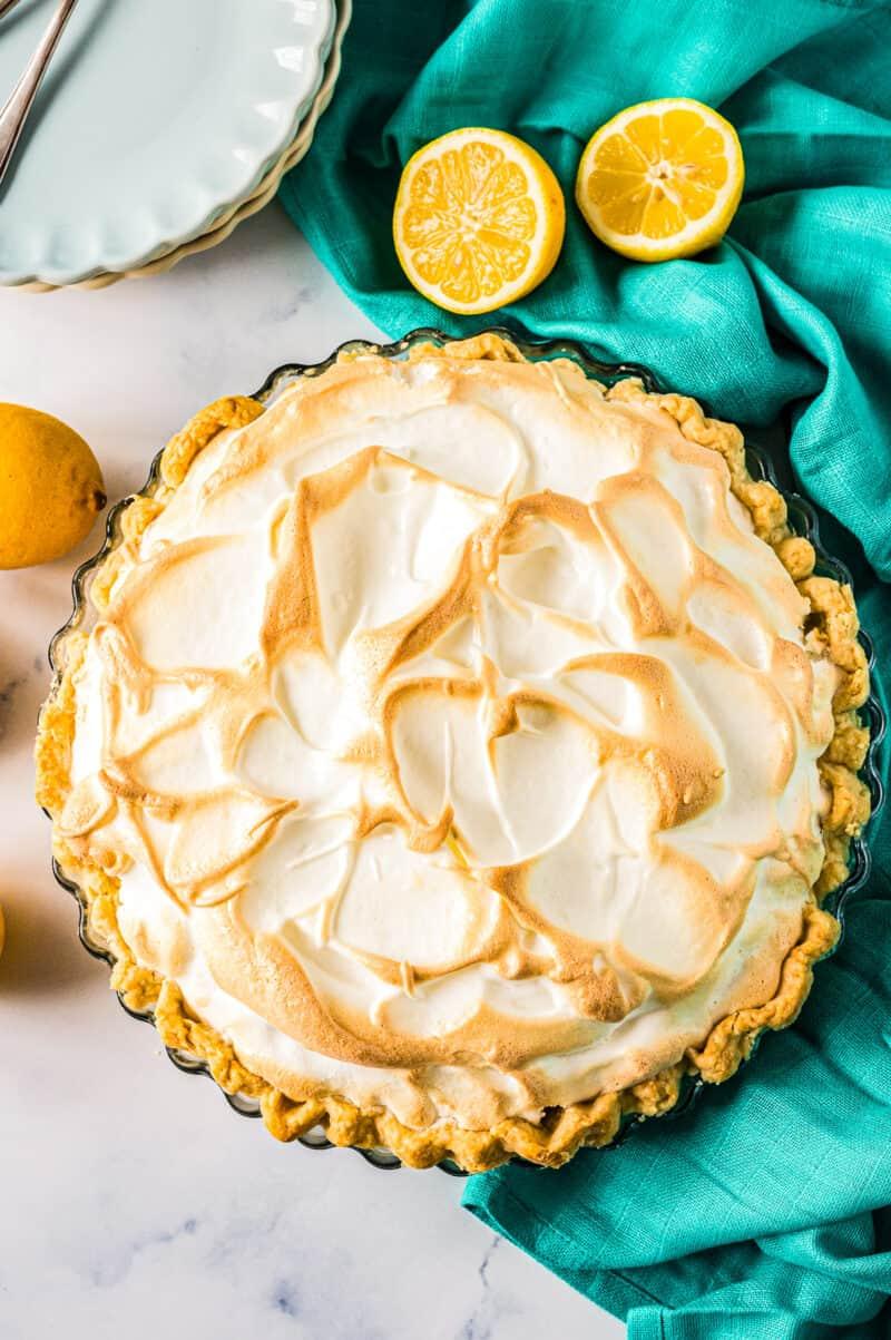 overhead lemon meringue pie in pie plate
