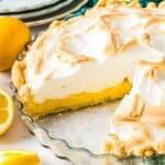 sliced lemon meringue pie