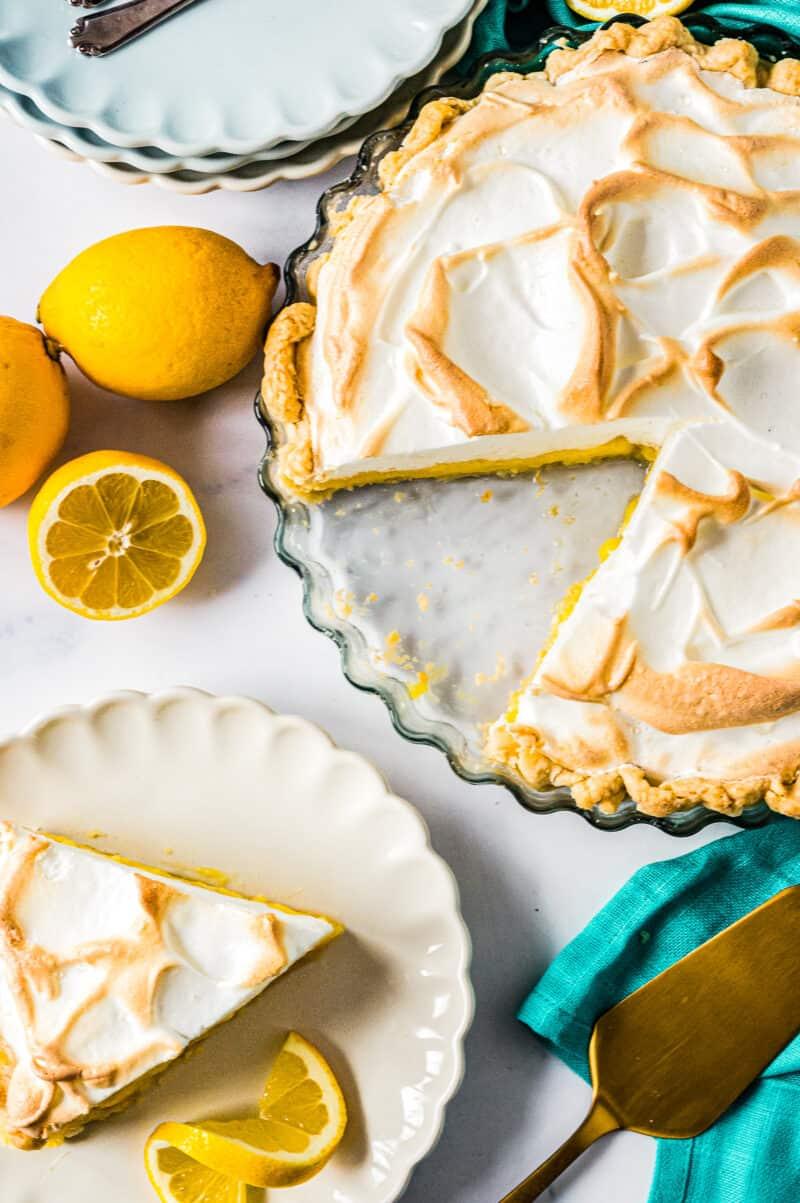 overhead lemon meringue pie next to slice