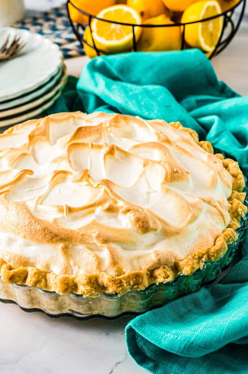 side shot of toasted lemon meringue pie