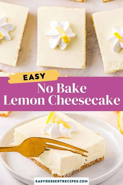 no bake lemon cheesecake pinterest collage