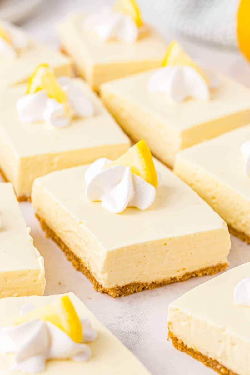 side shot of shots of no bake lemon cheesecake