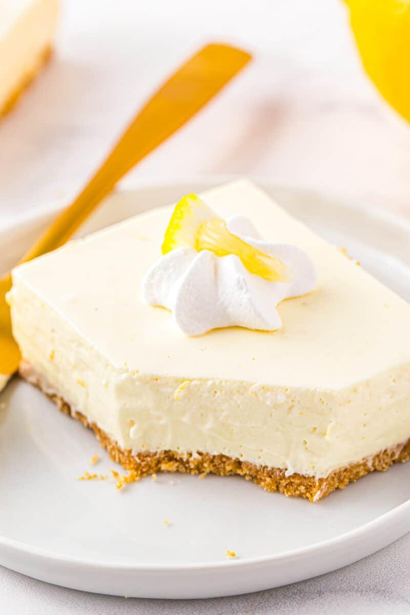 up close slice of no bake lemon cheesecake