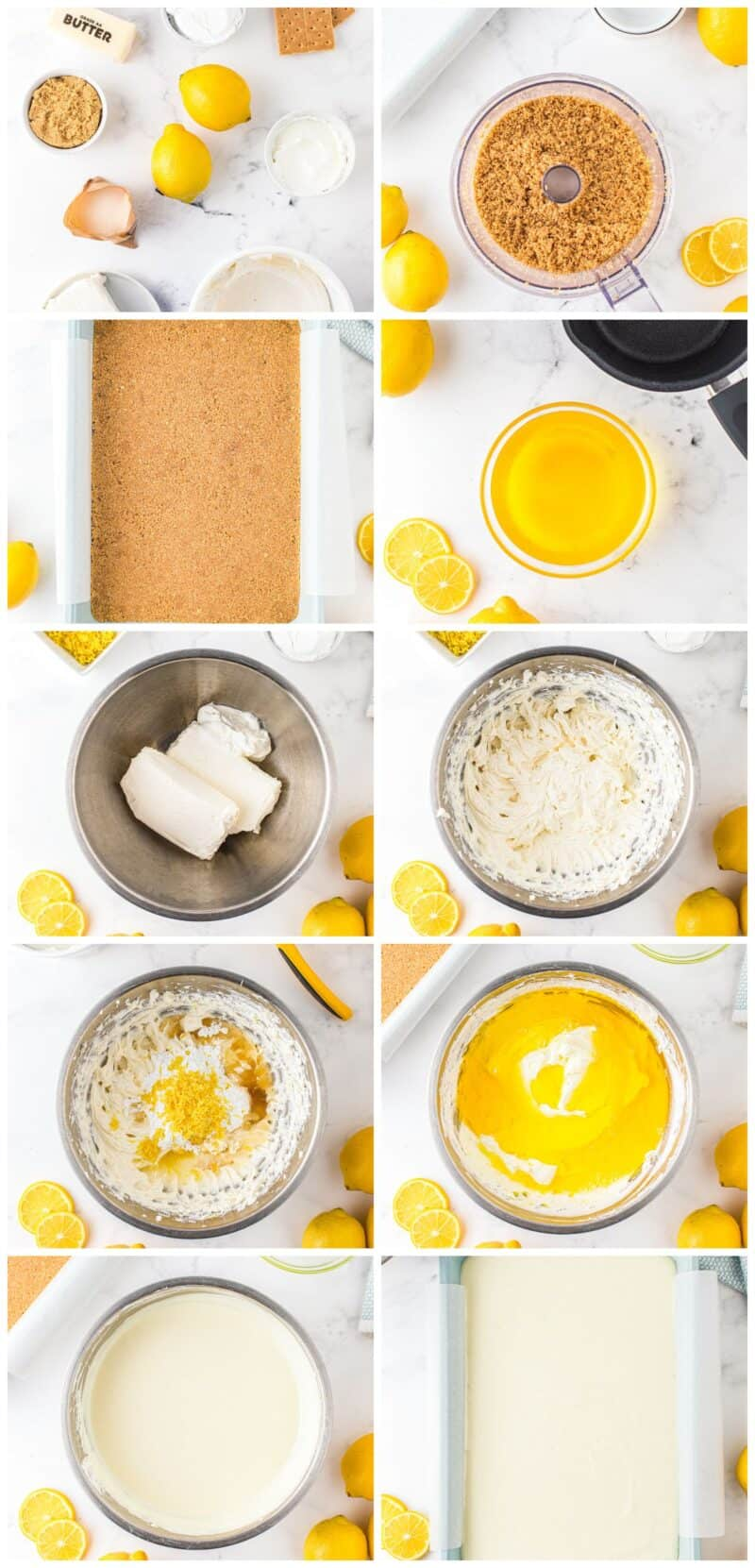 step by step photos for how to make no bake lemon cheesecake