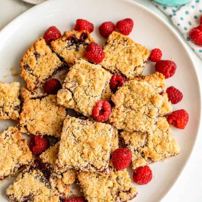 platter with raspberry crumb bars