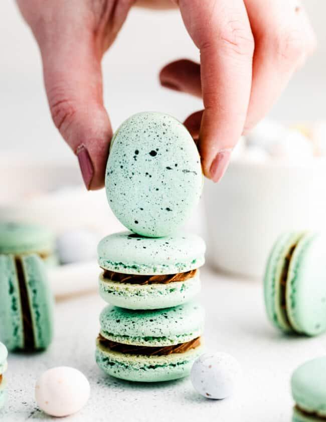 stacked chocolate robin's egg macaron cookies