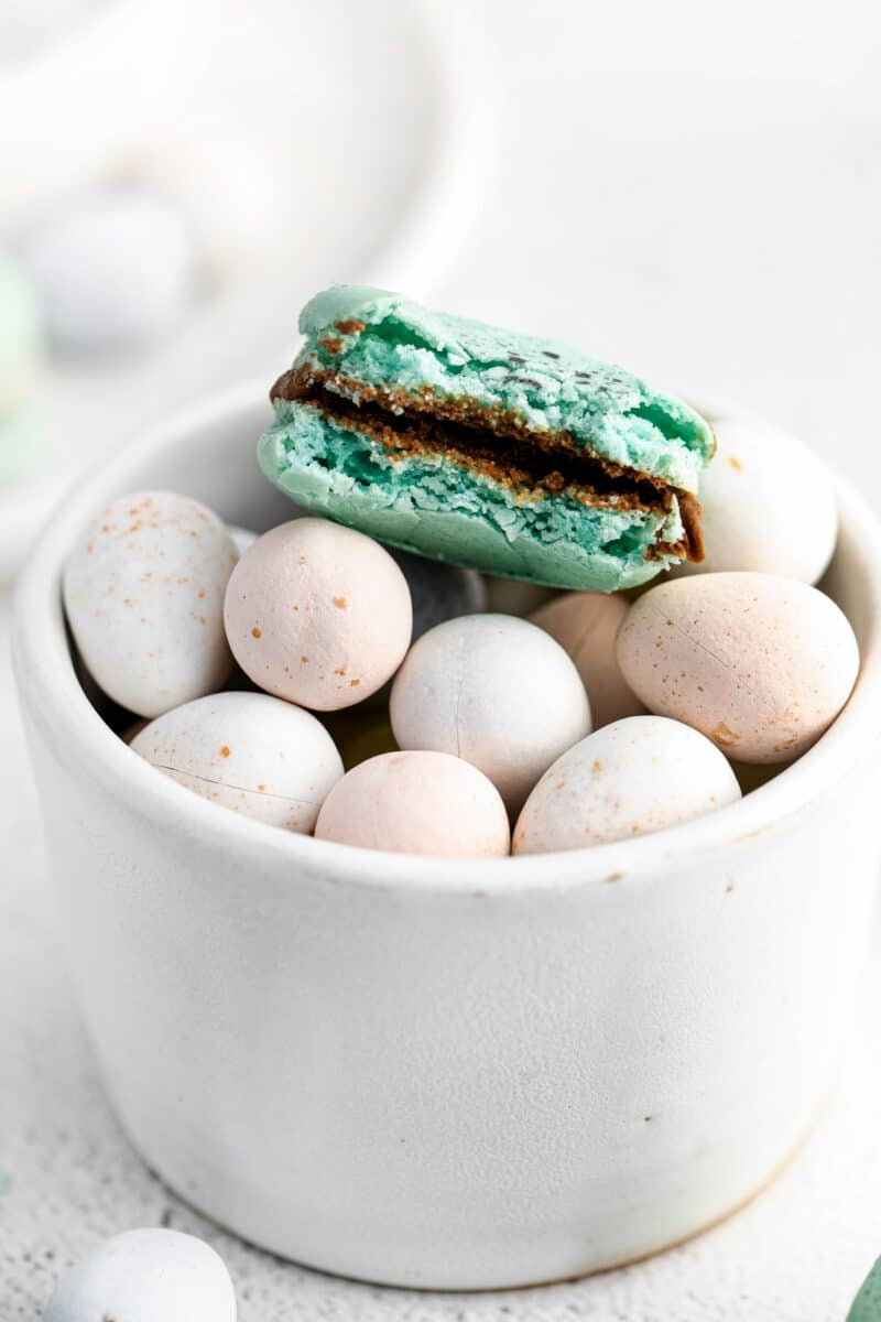 bite out of robin's egg macaron