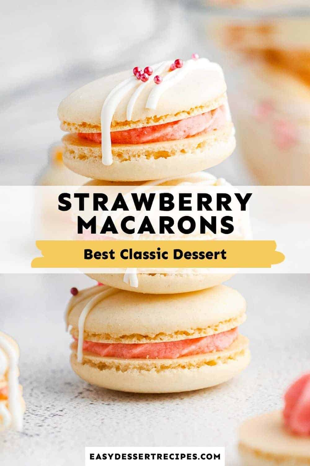strawberry macarons pinterest collage