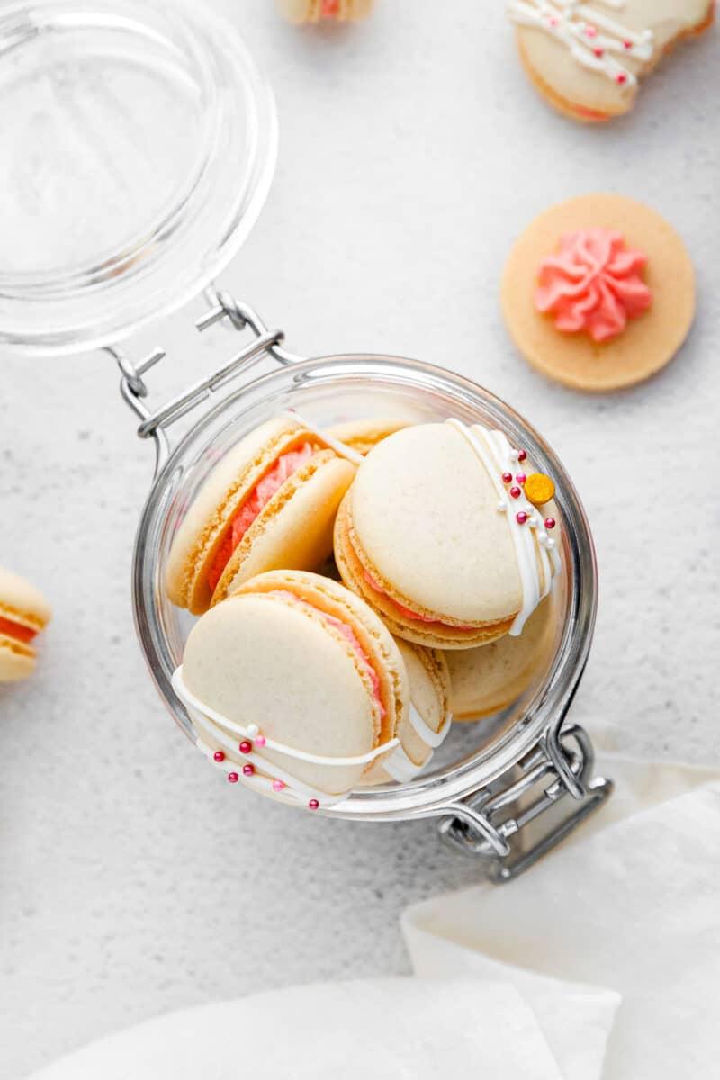 overhead jar of strawberry macarons
