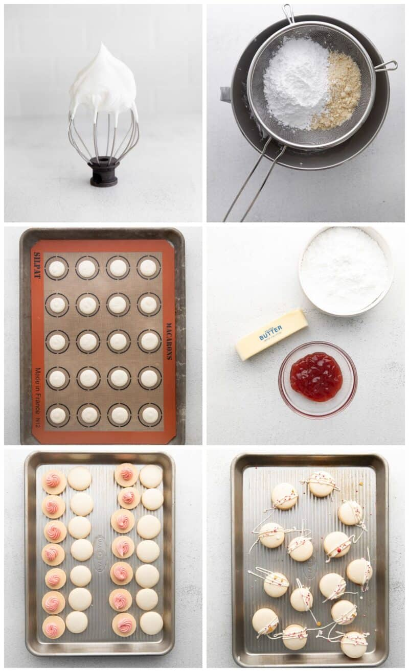 step by step photos for how to make strawberry macarons