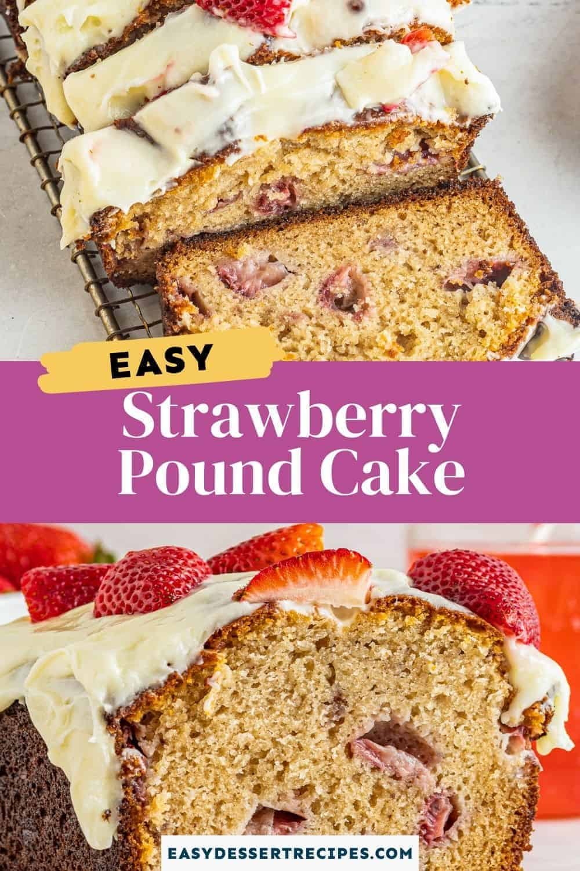 strawberry pound cake pinterest collage