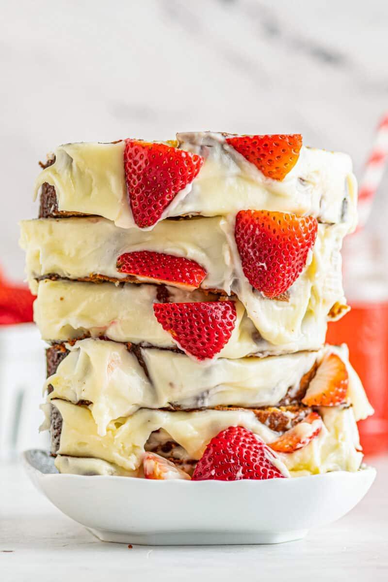 stacked slices of strawberry pound cake