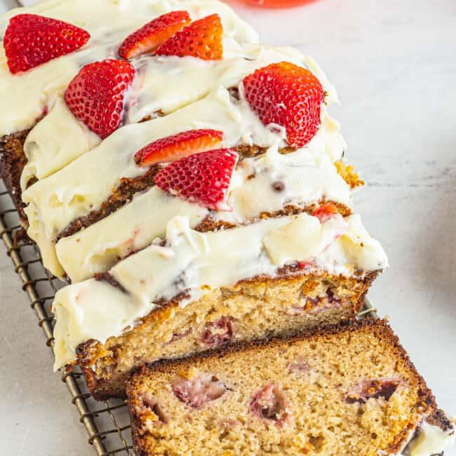 sliced strawberry pound cake