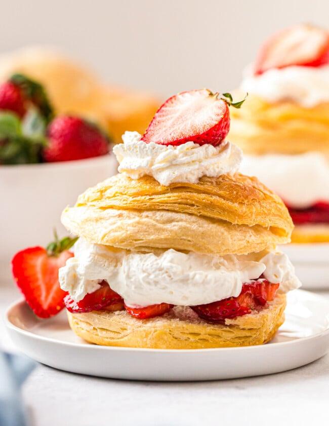 strawberry shortcake on white plate