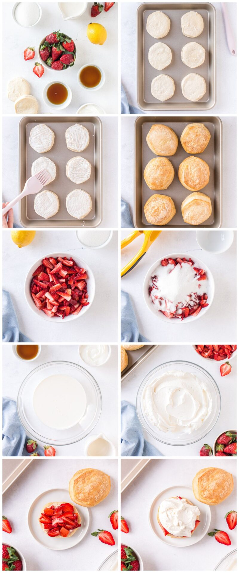 step by step photos for how to make strawberry shortcake