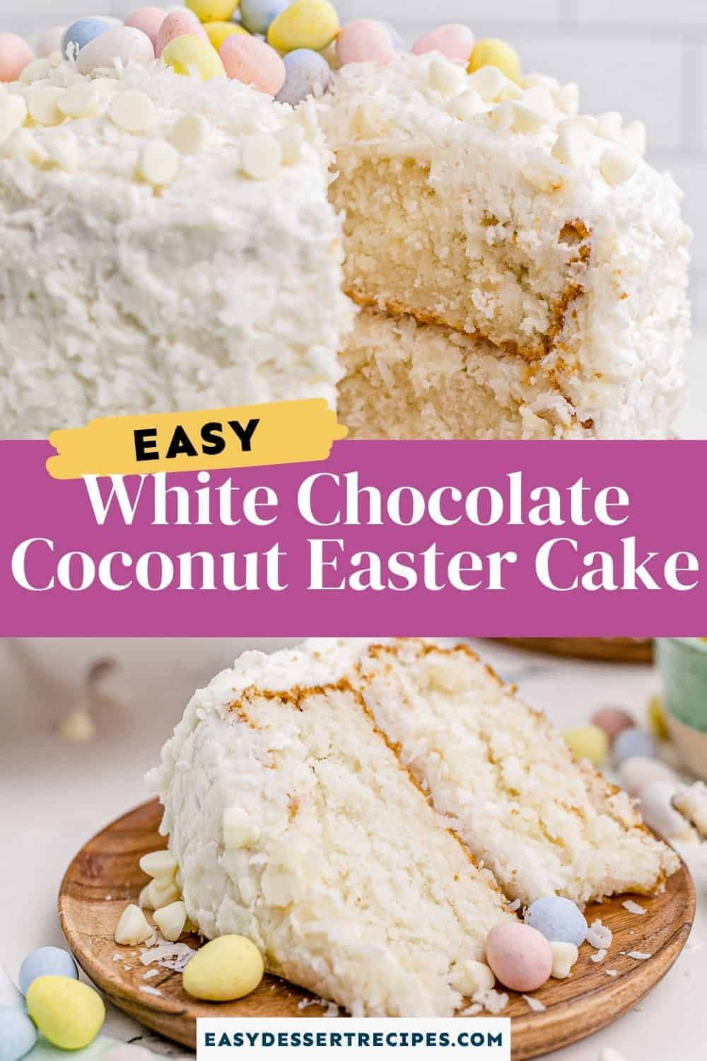 white chocolate coconut easter cake pinterest collage