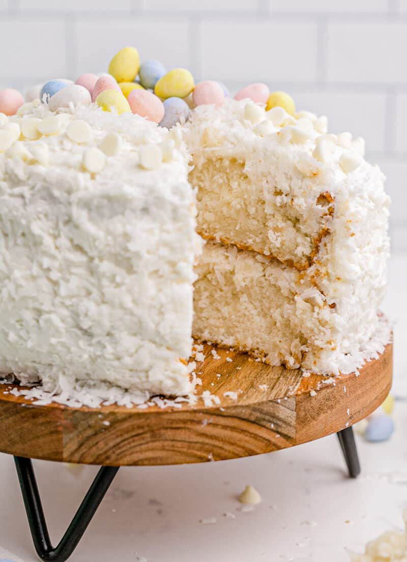 side shot of easter cake with slice out