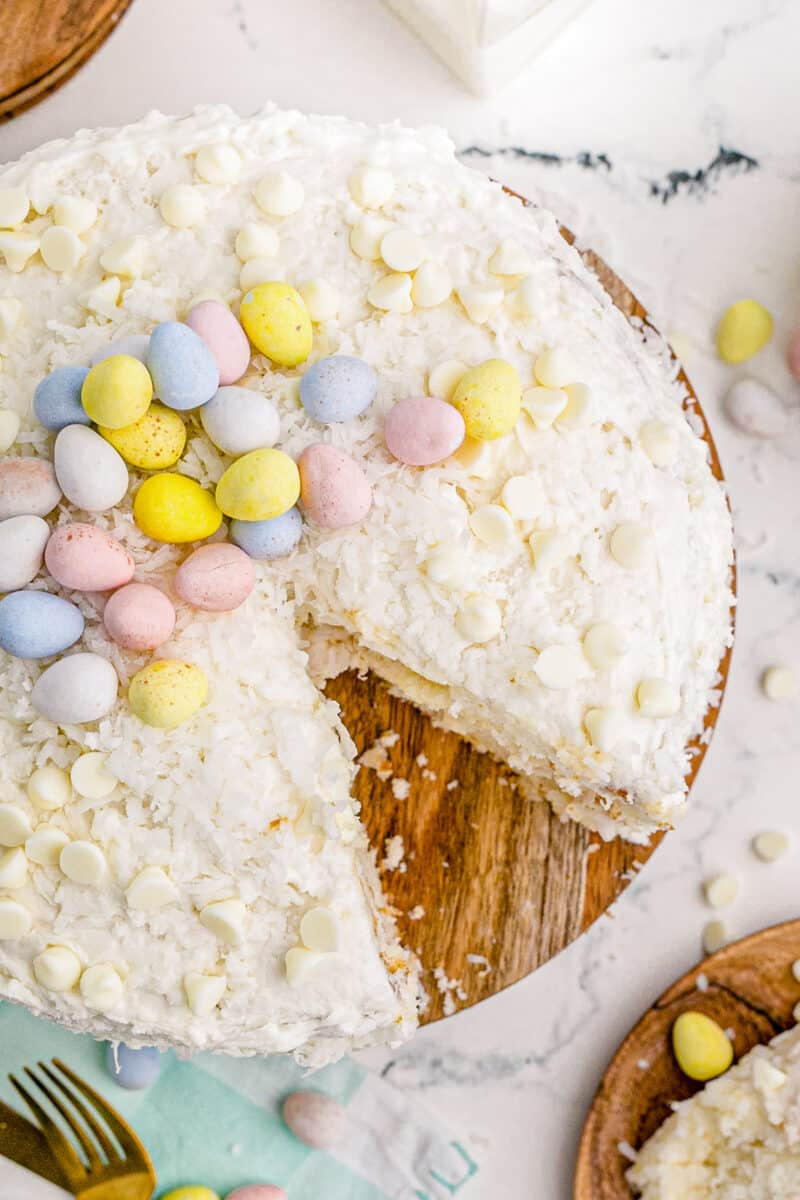 overhead image of easter cake with slice out