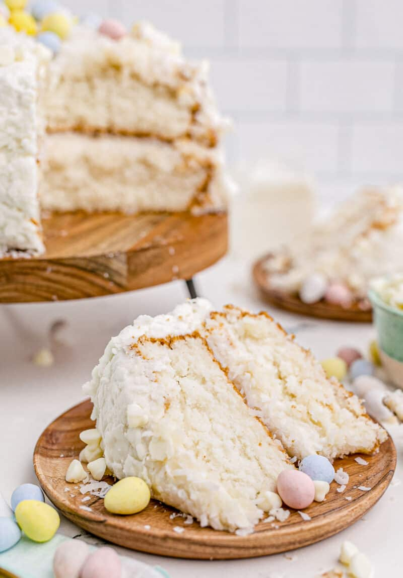 piece of coconut easter cake on plate