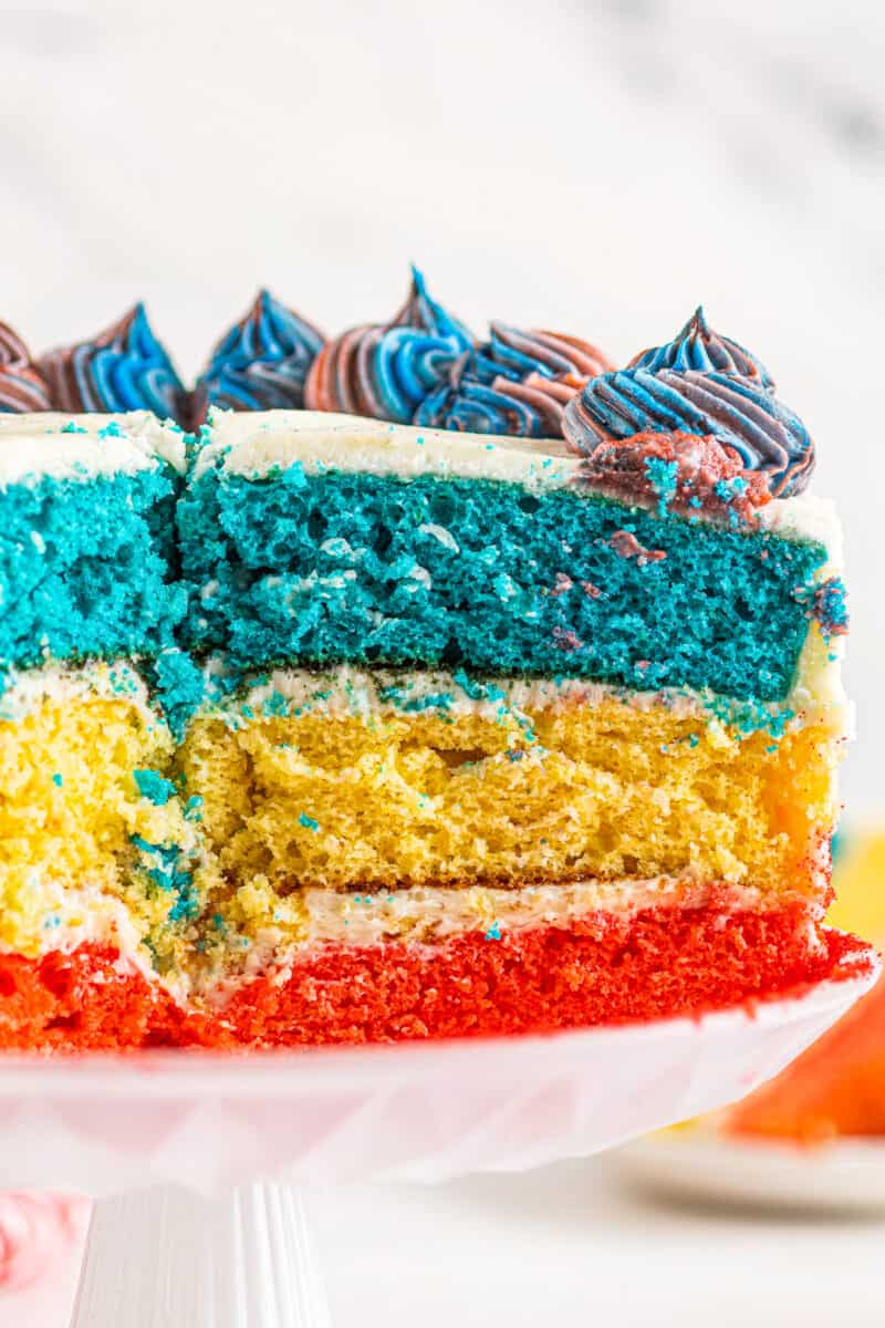 inside of 4th of july cake with red white and blue layers