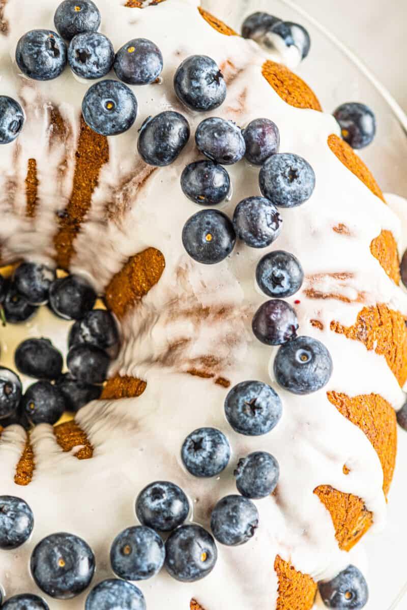 up close overhead blueberry bundt cake