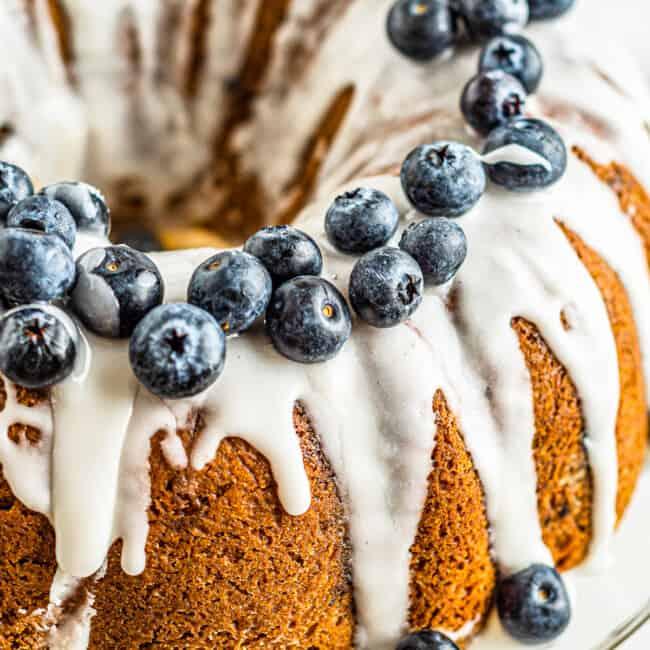side shot of blueberry bundt cake