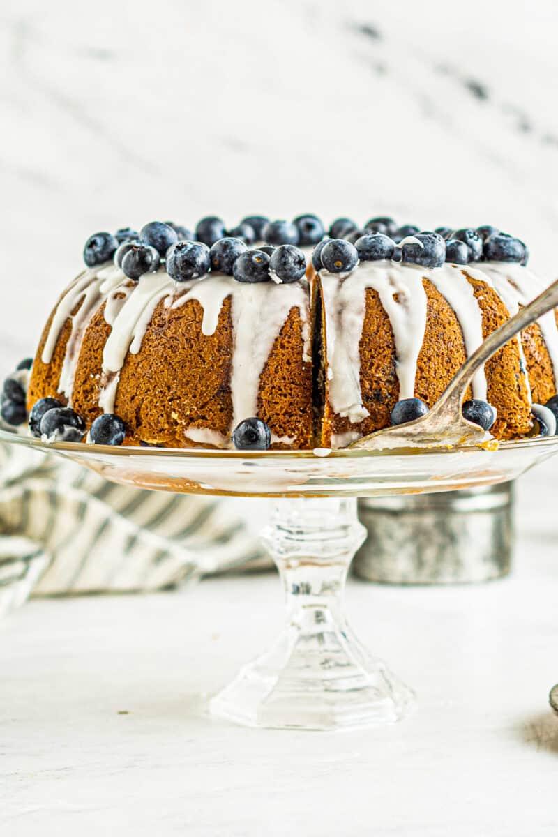blueberry bundt cake on cake stand