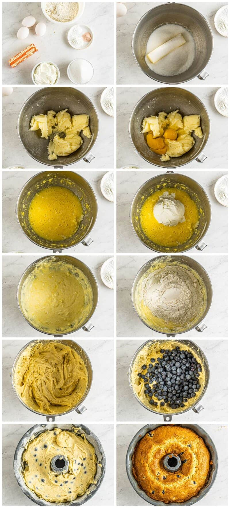 step by step photos for how to make blueberry bundt cake