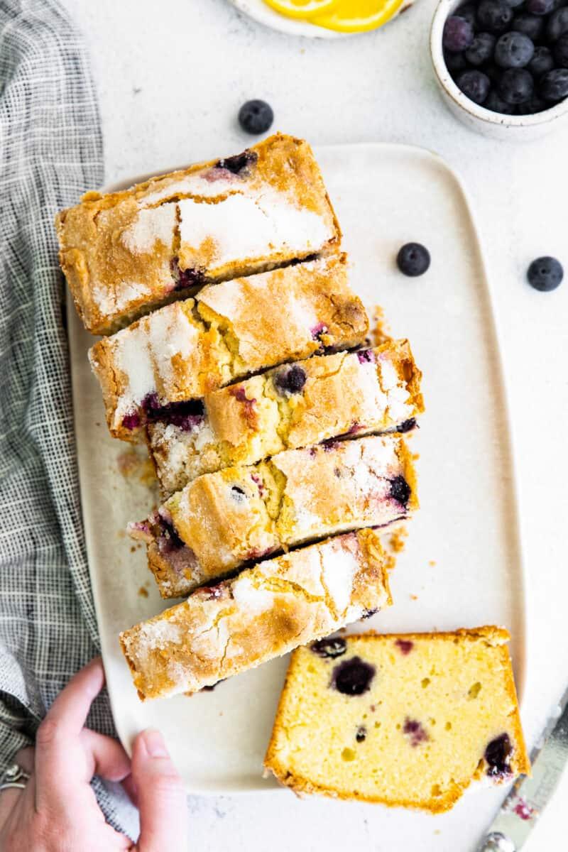 overhead blueberry lemon pound cake sliced
