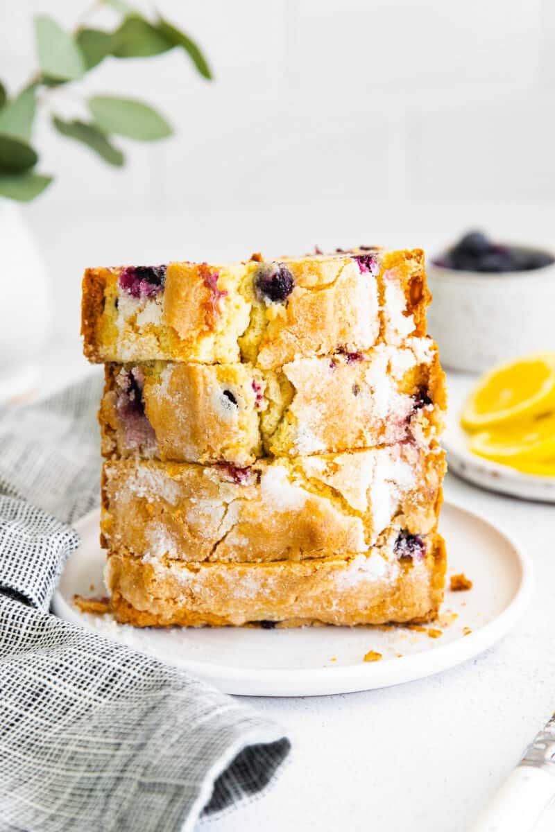 stacked slices of blueberry lemon pound cake