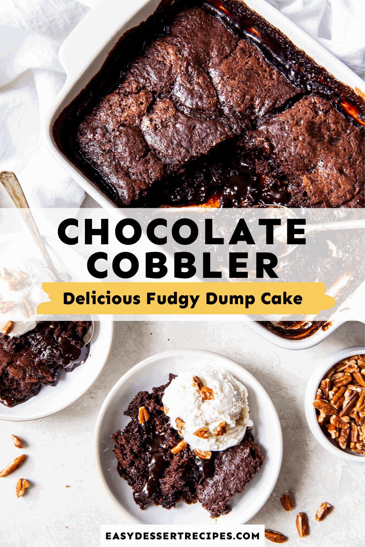 chocolate cobbler pinterest collage