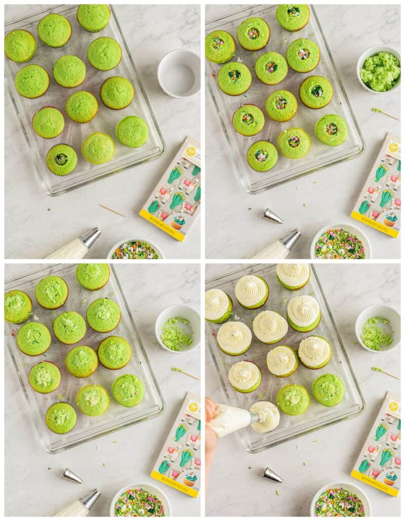 step by step photos for how to make pinata cupcakes