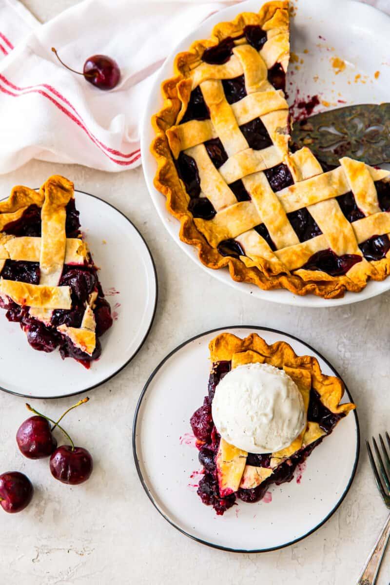 overhead image of lattice cherry pie and slices