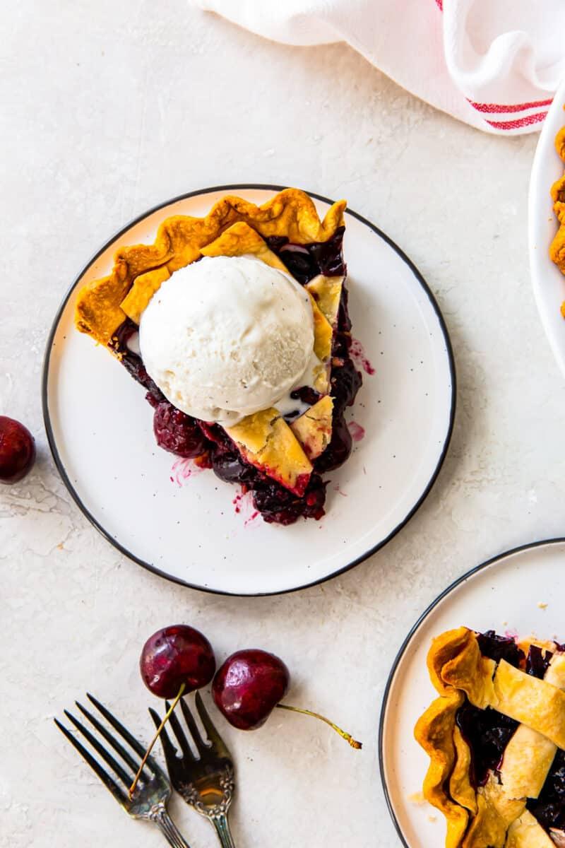 slice of cherry pie on white plate