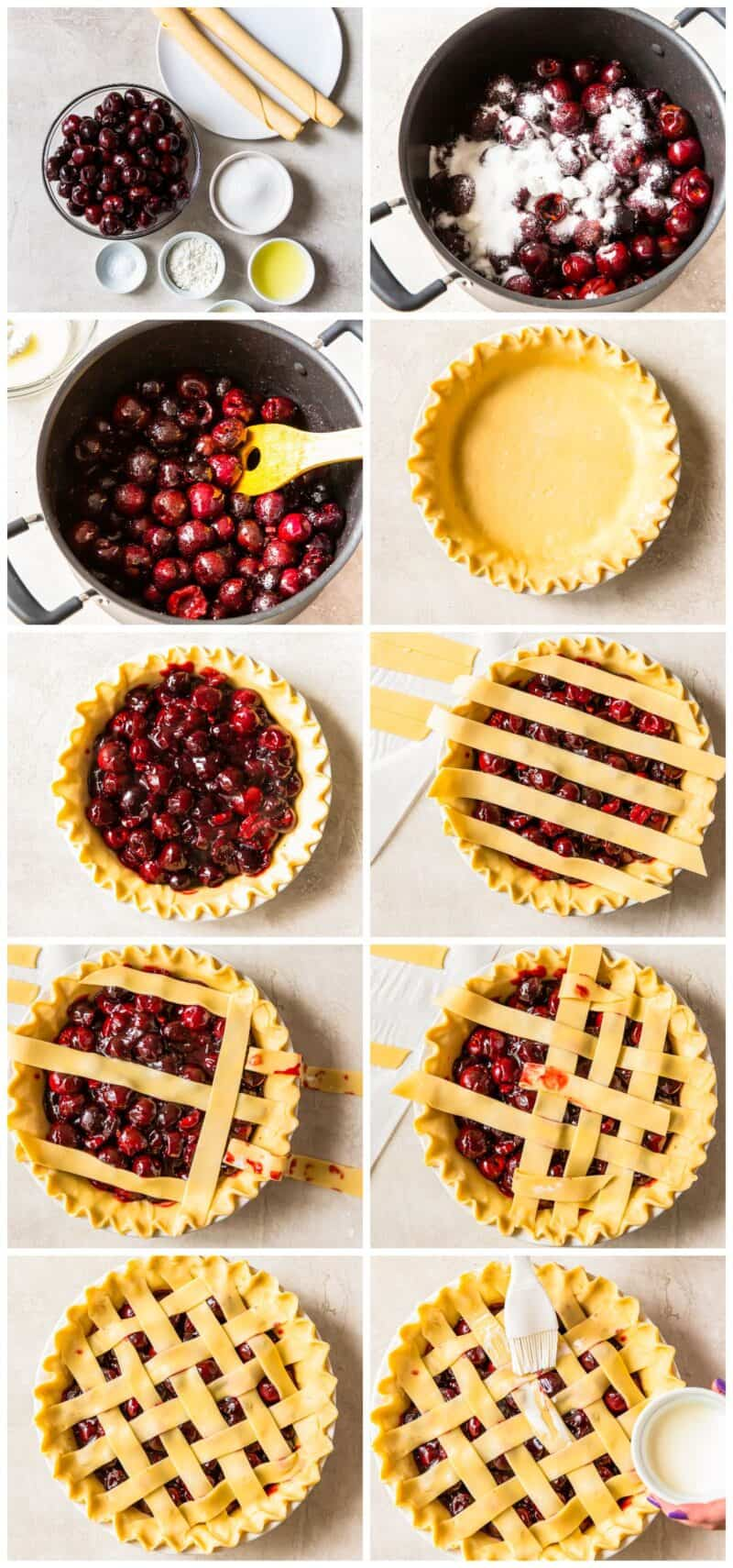 step by step photos for how to make lattice cherry pie