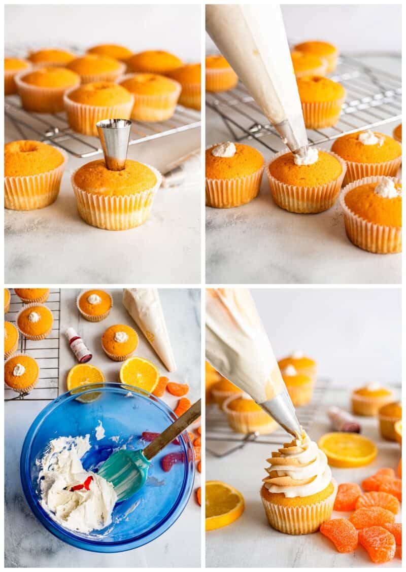 step by step photos for how to make orange creamsicle cupcakes