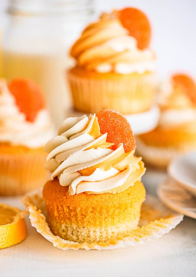 unwrapped orange creamsicle cupcake