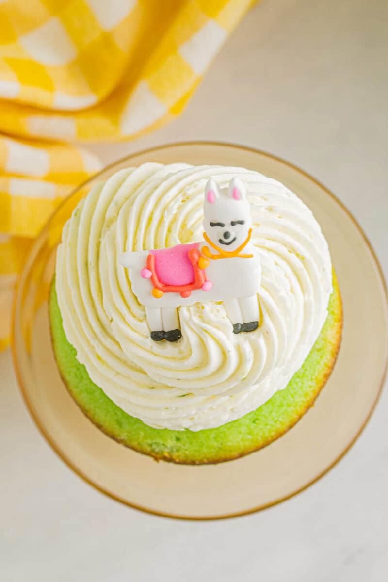 overhead photo of lime cinco de mayo cupcake with pinata filling