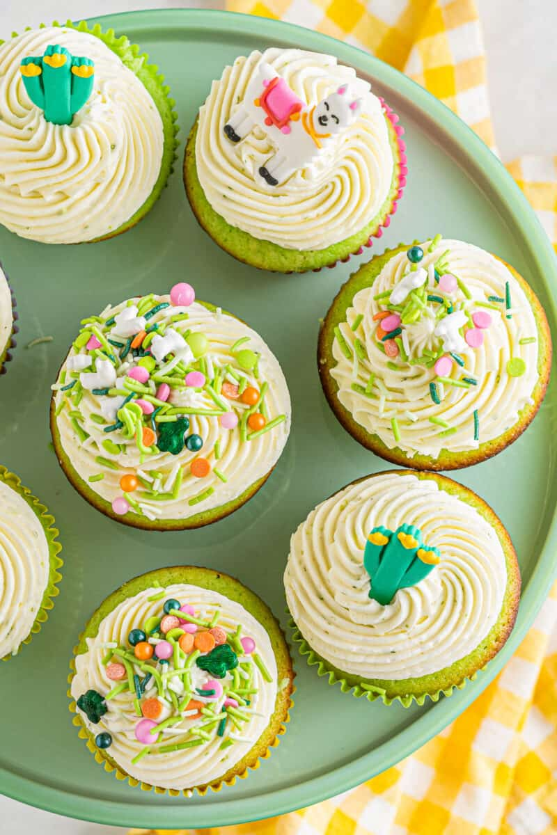 overhead photo of lime cinco de mayo cupcakes with pinata filling