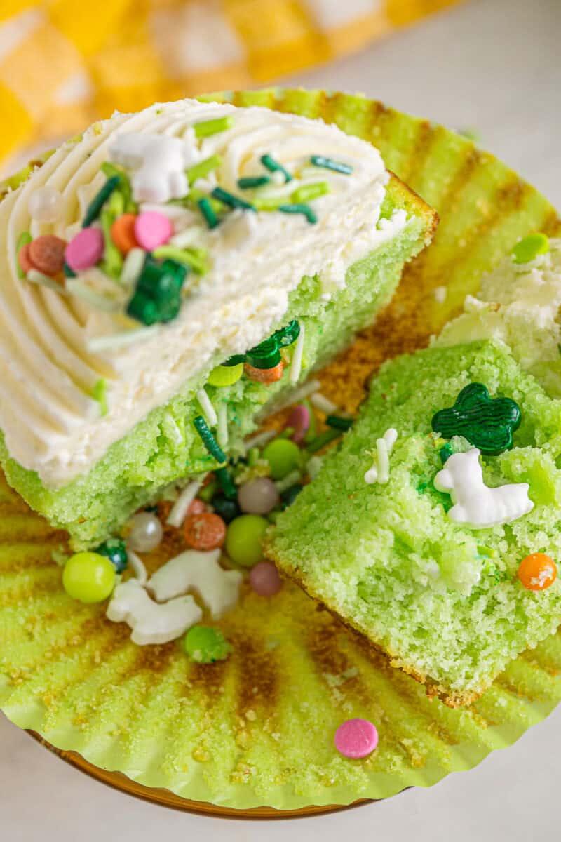cinco de mayo pinata cupcake cut in half