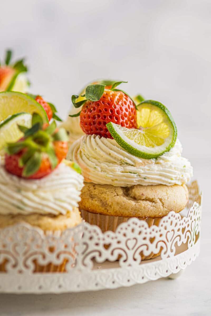strawberry margarita cupcakes on platter