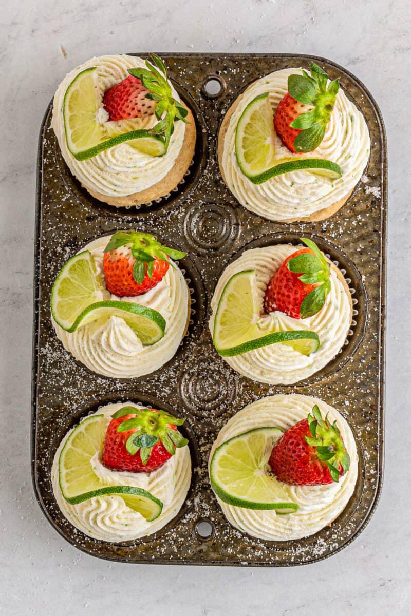 overhead photos of strawberry margarita cupcakes in cupcake tin