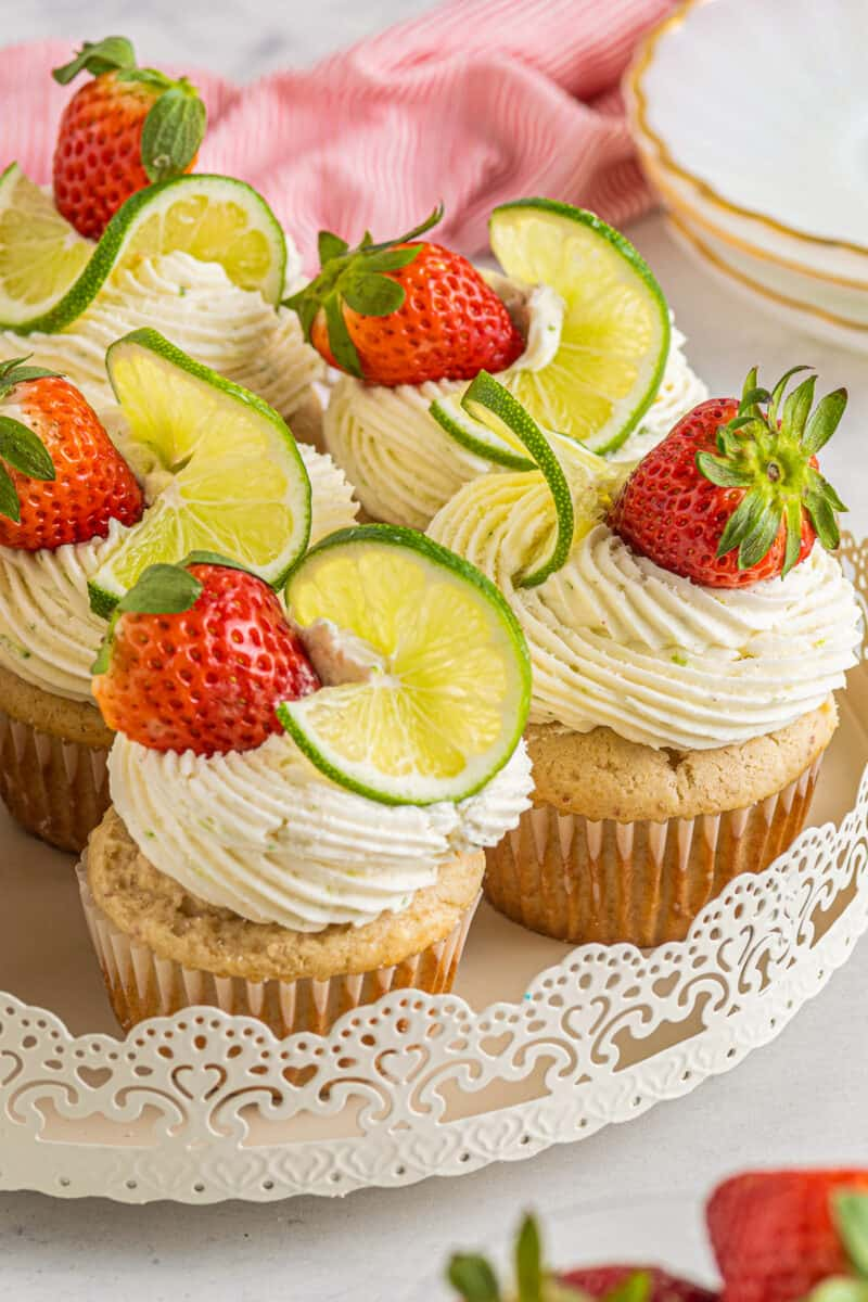 cupcakes with strawberry lime tequila buttercream